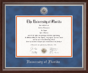 University of Florida Diploma Frame - Silver Engraved Medallion Diploma Frame in Devonshire