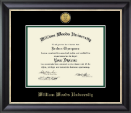 William Woods University Diploma Frame - Gold Engraved Medallion Diploma Frame in Noir