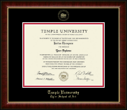 Temple University Diploma Frame - Gold Embossed Diploma Frame in Murano