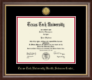 Texas Tech University Health Sciences Center Diploma Frame - Gold Engraved Medallion Diploma Frame in Prescott