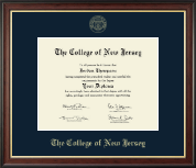 The College of New Jersey Diploma Frame - Gold Embossed Diploma Frame in Studio Gold