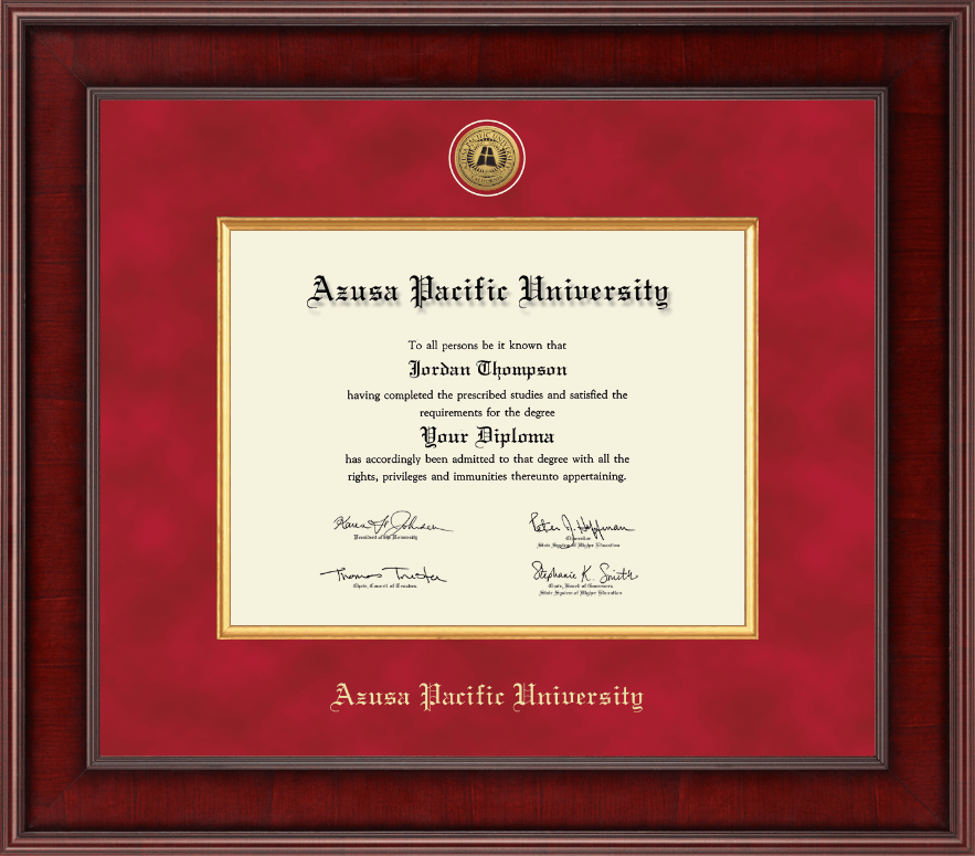 Azusa Pacific University Presidential Gold Engraved