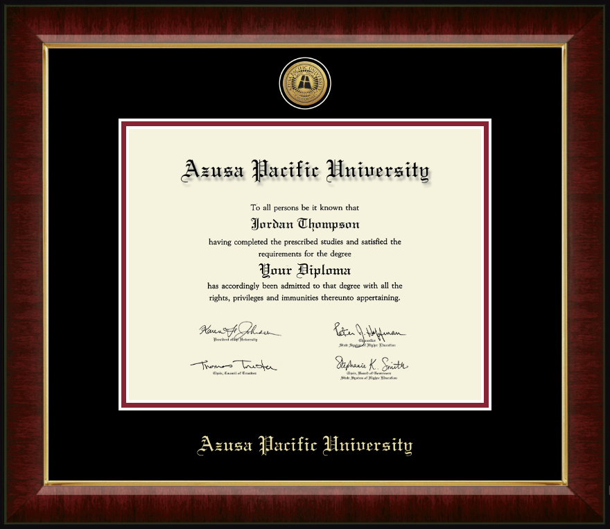 Azusa Pacific University Gold Engraved Medallion Diploma