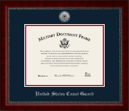 United States Coast Guard Certificate Frame - Silver Engraved Medallion Certificate Frame in Sutton