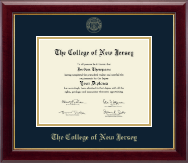 The College of New Jersey Diploma Frame - Gold Embossed Diploma Frame in Gallery