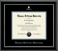 Thomas Jefferson University Diploma Frame - Silver Embossed Logo Diploma Frame in Onyx Silver