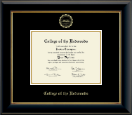 College of the Redwoods Diploma Frame - Gold Embossed Diploma Frame in Onyx Gold