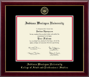 Indiana Wesleyan University  Diploma Frame - Gold Embossed Diploma Frame in Gallery