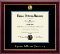 Thomas Jefferson University Certificate Frame - Gold Engraved Medallion Certificate Frame in Gallery