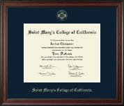 Saint Mary's College of California Diploma Frame - Gold Embossed Diploma Frame in Studio