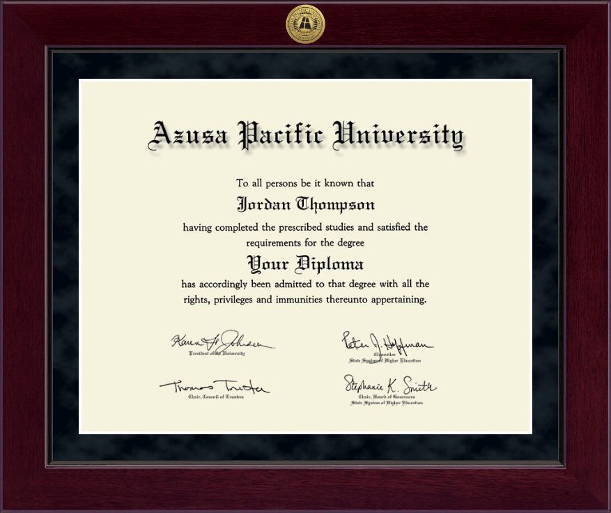 Azusa Pacific University Phd Millennium Gold Engraved
