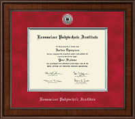 Rensselaer Polytechnic Institute Diploma Frame - Presidential Silver Engraved Diploma Frame in Madison