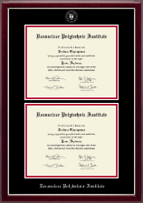 Rensselaer Polytechnic Institute Diploma Frame - Double Document Diploma Frame in Gallery Silver