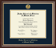 Icahn School of Medicine at Mount Sinai Diploma Frame - Gold Engraved Medallion Diploma Frame in Hampshire