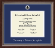 University of Illinois Springfield Diploma Frame - Silver Engraved Medallion Diploma Frame in Devonshire