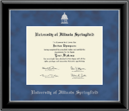 University of Illinois Springfield Diploma Frame - Silver Embossed Diploma Frame in Onyx Silver