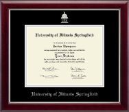 University of Illinois Springfield Diploma Frame - Silver Embossed Diploma Frame in Gallery Silver