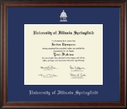 University of Illinois Springfield Diploma Frame - Silver Embossed Diploma Frame in Studio