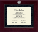 Olivet College Diploma Frame - Millennium Silver Engraved Diploma Frame in Cordova