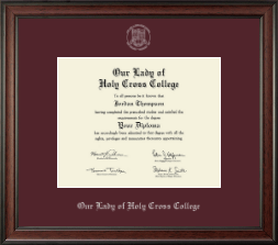 Our Lady of Holy Cross College Diploma Frame - Silver Embossed Diploma Frame in Studio