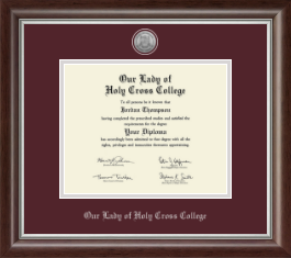 Our Lady of Holy Cross College Diploma Frame - Silver Engraved Medallion Diploma Frame in Devonshire