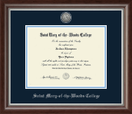 Saint Mary-of-the-Woods College Diploma Frame - Silver Engraved Medallion Diploma Frame in Devonshire