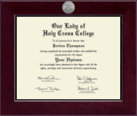 Our Lady of Holy Cross College Diploma Frame - Century Silver Engraved Diploma Frame in Cordova