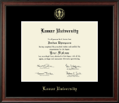 Lamar University Diploma Frame - Gold Embossed Diploma Frame in Studio