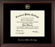 Central Bible College Diploma Frame - Gold Embossed Diploma Frame in Studio