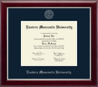 Eastern Mennonite University Diploma Frame - Silver Embossed Diploma Frame in Gallery Silver