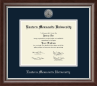Eastern Mennonite University Diploma Frame - Silver Engraved Medallion Diploma Frame in Devonshire