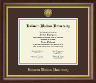 Baldwin Wallace University Diploma Frame - Gold Engraved Medallion Diploma Frame in Hampshire