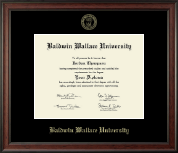 Baldwin Wallace University Diploma Frame - Gold Embossed Diploma Frame in Studio