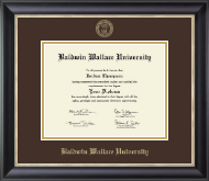 Baldwin Wallace University Diploma Frame - Gold Embossed Diploma Frame in Noir