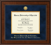Queens University of Charlotte Diploma Frame - Presidential Gold Engraved Diploma Frame in Madison