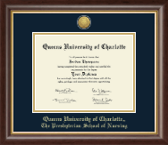 Queens University of Charlotte Diploma Frame - Gold Engraved Medallion Diploma Frame in Hampshire