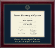 Queens University of Charlotte Diploma Frame - Gold Embossed Diploma Frame in Gallery