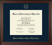Queens University of Charlotte Diploma Frame - Gold Embossed Diploma Frame in Studio