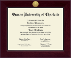 Queens University of Charlotte Diploma Frame - Century Gold Engraved Diploma Frame in Cordova