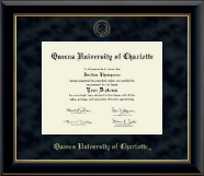 Queens University of Charlotte Diploma Frame - Gold Embossed Diploma Frame in Onyx Gold