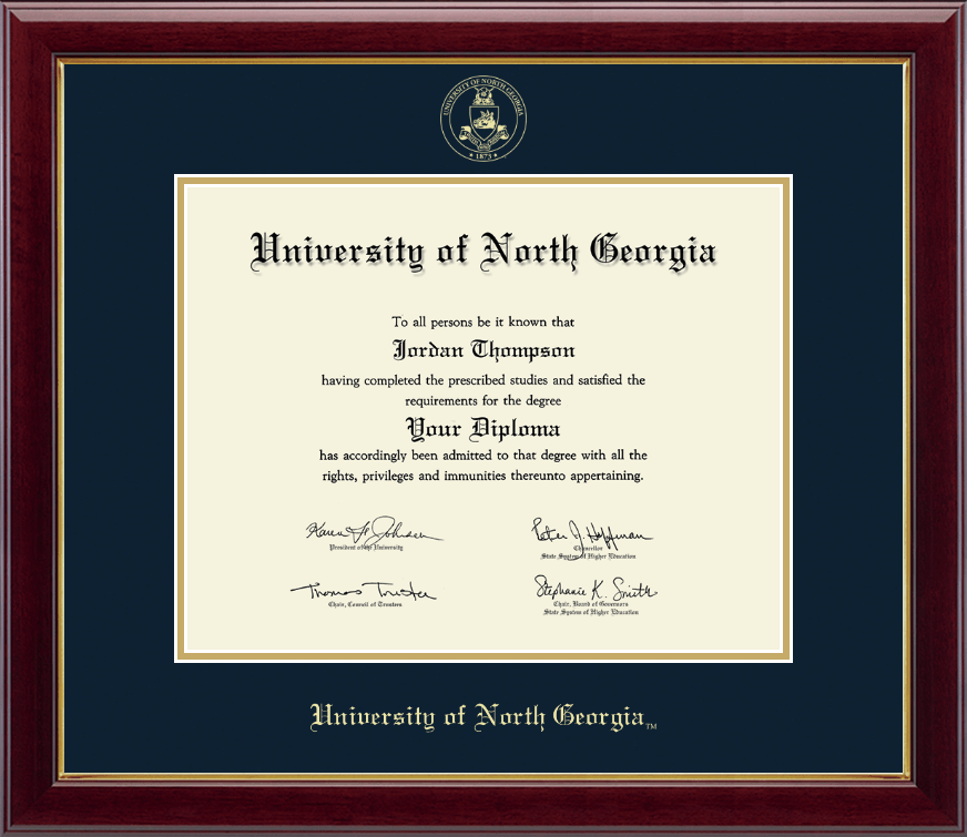 University Of North Georgia Gold Embossed Diploma Frame In
