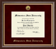 Midwestern State University Diploma Frame - Gold Engraved Medallion Diploma Frame in Hampshire