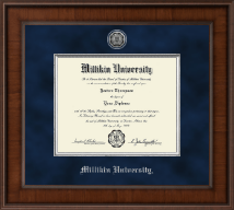 Millikin University Diploma Frame - Presidential Silver Engraved Diploma Frame in Madison