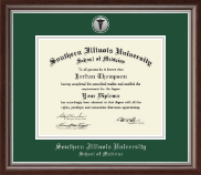 Southern Illinois University School of Medicine Diploma Frame - Silver Engraved Medallion Diploma Frame in Devonshire