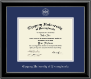 Cheyney University Diploma Frame - Silver Embossed Diploma Frame in Onyx Silver