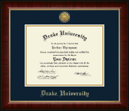 Drake University Diploma Frame - Gold Engraved Medallion Diploma Frame in Murano