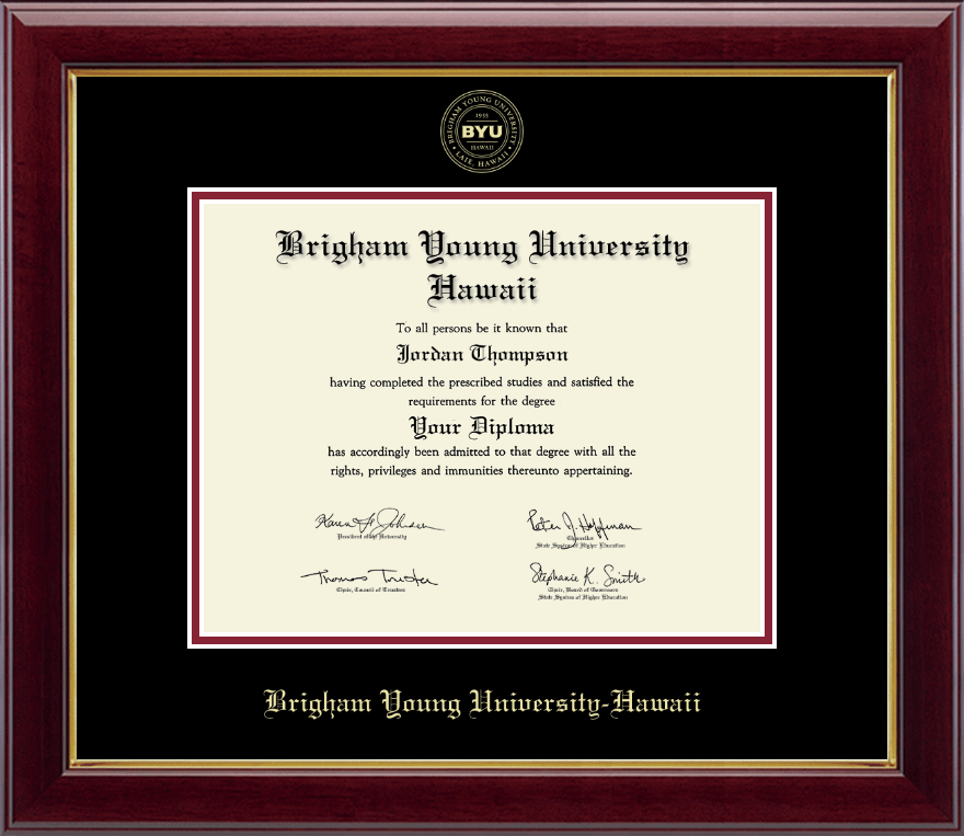 Brigham Young University Hawaii Gold Embossed Diploma Frame In Gallery