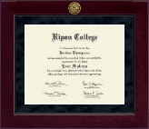 Ripon College Diploma Frame - Millennium Gold Engraved Diploma Frame in Cordova