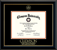 Clemson University Diploma Frame - Gold Embossed Diploma Frame in Onyx Gold