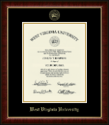 West Virginia University Diploma Frame - Gold Embossed Diploma Frame in Murano